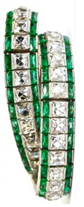 Art Deco diamond, emerald, and platinum bracelet