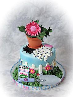 garden theme cake gerbera daisy.jpg provided by Truly Custom Cakery, LLC Warminster 18974
