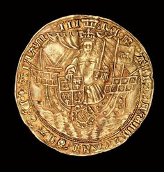 Rare English Coin, Gold Ryal, Queen Mary (Bloody Mary) in ship with sword and shield, 1553 - 1554 Tudor History, British History, Ancient History, English Coins, Medieval, Queen Mary, Royal Queen, Gold And Silver Coins, Antique Coins