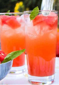Watermelon Basil Lemonade is the perfect drink recipe for grilling out on sunny days with friends! It's so refreshing, and you will love using the fresh fruit as a garnish.