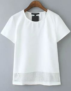 White Short Sleeve Hollow Casual T-Shirt 14.33