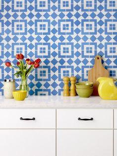 Blue-and-White Cement Tiles, Emily Henderson - 5 Clever Tile Backsplash Designs on HGTV Pottery Barn Inspired, Encaustic Tile, Mosaic Designs, Kitchen Interior, Kitchen Design, Tile Design, House Design, Interior Design, Cement Tiles