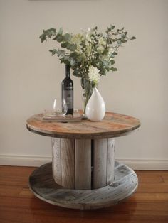 Side Table made from old Cable Reel.