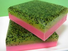 Strawberry Kiwi Poppyseed Soap - Fruit - Goats Milk - Glycerin soap - Exfoliating soap