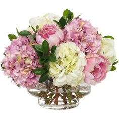 Diane James Pink Hydrangea & Peonies in Low Footed Bowl found on Polyvore featuring home, home decor, floral decor, flower bowl, silk flower arrangement, footed bowl, silk flowers and pink bowl