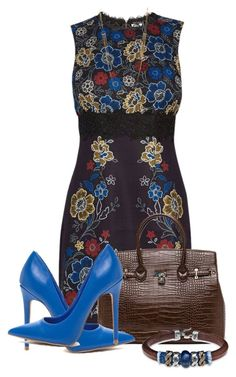 """""""Floral Print & Lace Dress"""" by ljbminime ❤ liked on Polyvore featuring Warehouse, Panacea and Platadepalo"""