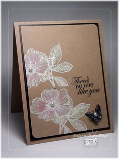 handmade card: kraft with Whitewash Technique flowers by Melanie Muenchinger ... StampTV ...