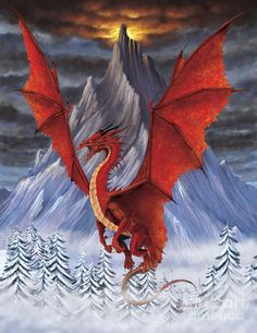 Fantasy Print featuring the digital art Evil Red Dragon by Stanley Morrison Fantasy Dragon, Fantasy Art, Fantasy Creatures, Mythical Creatures, Red Dragon Tattoo, Dragon's Lair, Dragons, Dragon Pictures, Dragon Images