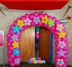 Floral balloon arch - love the bright colors!