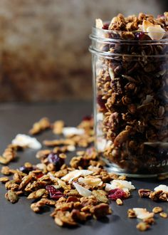 Pumpkin Pecan Granola--Sweetened with maple syrup, this granola recipe is great with parfaits, by itself, or as cereal.