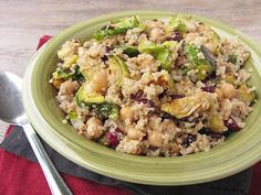 Warm Quinoa Salad with Brussels Sprouts, Chickpeas & Cranberries [Once Upon a Cutting Board]