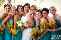yellow and aqua wedding colors