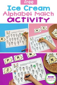 This FREE Ice Cream Alphabet Matching Game is a great way to work on upper and lowercase letter recognition in Pre-K and Kindergarten! It's easy to prep and it makes a fun, hands-on literacy center or small group end of the school year activity! Literacy Skills, Kindergarten Literacy, Literacy Activities, Literacy Centers, Letter Matching, Matching Games, Upper And Lowercase Letters, Lower Case Letters, Small Group Activities