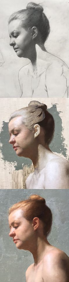 Kathryn Engberg, Grand Central Academy student, 2016 {figurative art female head profile woman face portrait painting progression}