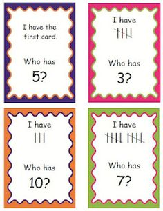 I Have Who Has with numerals and tallies to 20