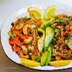 Duo of carrot salads -- Cayenne. Roasted cashews. EVOO. Extra tahini.--  OR -- Raisins. Extra lemon. Extra green. Plush hemp seeds.