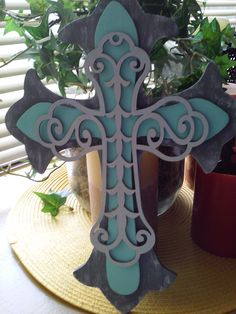 Hand painted stacked cross