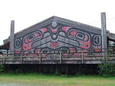 Metlakatla, Alaska is a community of Tsimshian people. Today it is the only reservation in the State of Alaska. Native Art, Native American Indians, Ketchikan Alaska, Long House, Tlingit, Native Design, New Community, Alaska Cruise, Indigenous Art