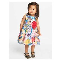 Louise Fall Tropical Dress | Perfect for those all-important play dates, this full-skirted floral print dress is made from breezy burnout organza and features a gorgeous reddened pink rosette at the bodice.