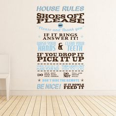 House Rules Wall Sticker | Vinyl Impression! RePin and Win, we are giving away 5 of these Wall Stickers to random people who RePin this! See comments to see who Wins!