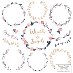 This soft, pretty collection of floral wreaths, laurels and branches in my pretty Navy & Blush color theme is a fabulous way to embellish your projects. Vectors and PNG cliparts included! Great for designing cards, invitations, tags, wall art and more! Includes 4 wreaths, 3 laurels, 4 single side branches, 4 double branches and 3 single flowers. These pretty wreath images can be used digitally or in print. Incredibly useful for creating wedding invitations and decorations, crafts, wall a...