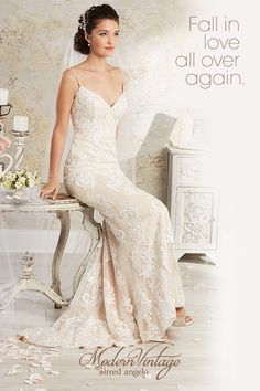 Modern Vintage by Alfred Angelo: The elegance of the past. The romance of today. Browse more wedding dress styles at www.alfredangelo.com.