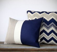 16in DECORATIVE PILLOW in Navy Blue Chevron and Stone Gray - Modern Summer Home Decor Geometric Pattern Zig Zag Ikat Pillow