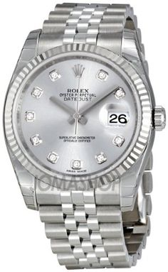 Rolex Datejust Rhodium Diamond Dial 18kt White Gold Fluted Bezel Ladies Watch 116234RDJ