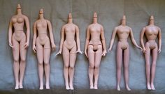 https://flic.kr/p/89S4Pm | Body Reference | From left to right: Pure Neemo Type F Pure Neemo Type E Pure Neemo Type A Pure Neemo Flection Takara  Licca