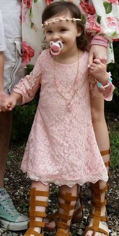 Toddler Little Girls Lace 3/4 sleeve Dress, Lace Dress, Girls Spring Dress, Easter Dress, Blush Pink or Whit