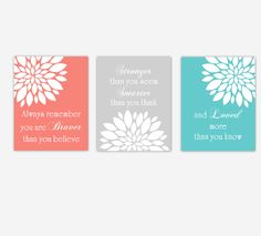 Baby Girl Nursery Wall Art Coral Teal Gray Grey Flower Mums Dahlia Floral Girl Bedroom You Are My Sunshine  Canvas Prints Baby Nursery Decor by CadenRossCanvas on Etsy https://www.etsy.com/listing/473349515/baby-girl-nursery-wall-art-coral-teal
