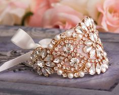 Wedding Bracelet Rose Gold Bridal bracelet Bridal by GarterQueen