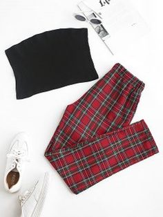 Solid Strapless Top and Plaid Pants Set Ugly Sweater, Sweater Shirt, Trendy Outfits, Cute Outfits, Plaid Pants, Animal Print Dresses, Two Piece Outfit, Dresses With Sleeves, Clothes