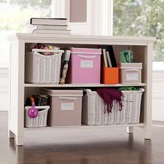 Beadboard 2-Shelf bookcase. End of the bed, under the lofted part???? PBteen dorm room.