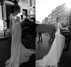 2014 Beautiful Backless Vintage Beaded Mermaid Lace Beach Wedding Dresses With V Neck Long Sleeves Court Train