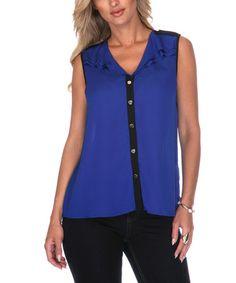 Look what I found on #zulily! Blue & Black Chiffon Sleeveless Button-Up - Women by White Mark #zulilyfinds