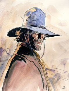 created in collaboration with belgian scriptwriter jean-michel charlier, the western serial 'blueberry' is one of gir's most well known work. the character lieutenant blueberry goes under a noticeable evolution in his character and personality throughout the series, something that giraud depicted in a noticeable change in tone and graphic representation.
