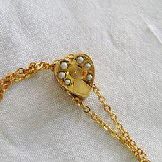 Antique Edwardian 10K Gold Heart Slide W Seed by SilverFoxAntiques, $115.00