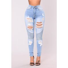 Oh These Jeans Light Wash ($75) ❤ liked on Polyvore featuring jeans, high-waisted jeans, destructed jeans, distressing jeans, high waisted jeans and torn jeans