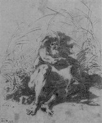 A seated river god by Salvator Rosa