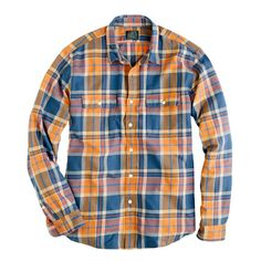 J Crew Flannel shirt in Caribbean blue plaid
