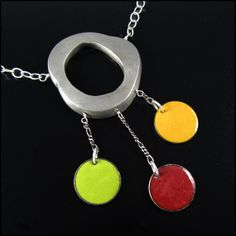 Featured in Dress it Up! magazine - Fabulous Abstract Modern Necklace of Steel Colorful by BrackenDesigns, $115.00