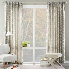 Brushstroke Ogee Jacquard Curtain- West Elm (curtains for bedroom and living room areas