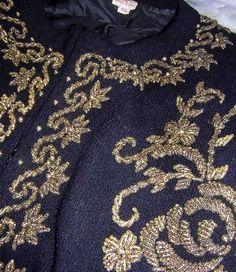 Vintage Beaded Cardigan Sweater Black Gold M B47 Fancy Assymetrical Scrolls