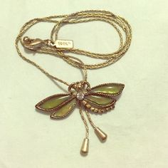 "Dragonfly Necklace Gently used, small nics and scratches. Adjustable dragonfly necklace. 12.5"" length, can be adjusted to hang lower or higher on neck like a choker. **Sterilized before shipping. Smoke free home.** 1928 Jewelry Necklaces"
