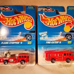 2 NEW Hot Wheels Die Cast Collectible- Fire Eater ll  + Flame Stopper ll RED NIB #HotWheels #FireEaterFiretruck