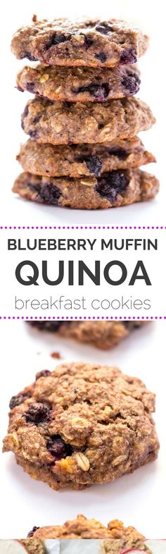 BLUEBERRY MUFFIN QUINOA BREAKFAST COOKIES -- sweetened naturally, without any dairy or eggs, and tons of fresh fruit!
