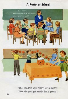 the children get ready for a Halloween party