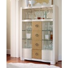 Legacy Classic Tower Suite Bar Cabinet in Marbleized Pearl and Gold Tone Accents