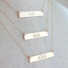 Sorority Necklace | Greek Jewelry | Engraved Gold Bar Necklace | 14K Gold Filled…